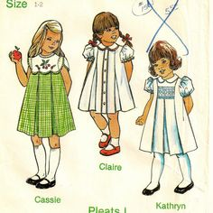 A Smocked, Pleated, Front or Back Button, Tulip, Short or Butterfly Sleeve Dress Pattern, Vintage 1981-1983