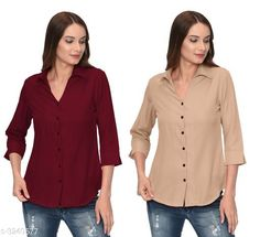 Checkout this latest Shirts Product Name: *Fashionable Contemporary Women's Polyester Solid Women's Shirts(Pack Of 2)* Fabric: Polyester Sleeve Length: Three-Quarter Sleeves Pattern: Solid Multipack: 2 Sizes: S, M, L, XL Country of Origin: India Easy Returns Available In Case Of Any Issue   Catalog Rating: ★3.8 (293)  Catalog Name: Fashionable Contemporary Women's Polyester Solid Women's Shirts Combo CatalogID_446822 C79-SC1022 Code: 405-3240577-1131