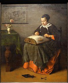 The lacemaker, Pieter Cornelisz van Slingelandt, 2nd half of 1600s - Villa Vauban - Luxembourg City.