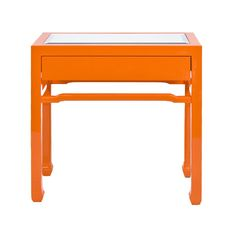 Oriental nightstand in orange lacquer with one drawer on glides and inset beveled mirror top.,Nightright Orange Side Table, Worlds Away, CHANGRIGHT, Table, Bedside