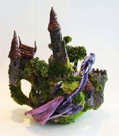 fantasy dragon diorama teapot sculpture by richardsymonsart, $350.00