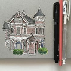 45 Best ideas for drawing art projects for kids classroom Architecture Sketchbook, Art Sketchbook, Art And Architecture, Art Sketches, Art Drawings, Watercolor Sketch, Pen Sketch, Toned Paper, A Level Art