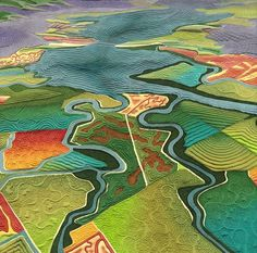 Fields of Salt map art quilt by LInda Gass. Although the landscape in this artwork may look like farm fields, it is actually salt ponds used for industrial salt production. These ponds used to be essential wetlands of San Francisco Bay. Map Quilt, Quilt Art, Landscape Art Quilts, Landscape Paintings, Collage Landscape, Art Carte, Creation Art, Textile Fiber Art, Fiber Art Quilts