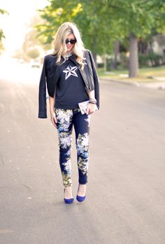 Edgy floral! You don't have to be  girly-girl to take on the floral trend #floralpants