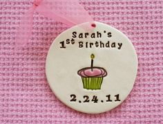 Personalized First Birthday Ornament for Baby Girl or Boy - Custom Made To Order on Etsy by Sunshine Ceramics