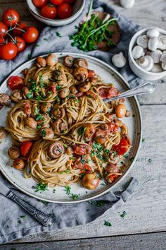 Baby Tomato Mushroom Pasta - simple recipe for one - Delicious and Healthy by Maya