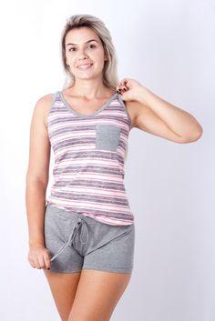 Blusa cavada - malha poliéster viscose listrada com detalhe de bolso 555fc48e9