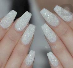 White sparkle nails, white coffin nails, glitter gel nails, white acrylic nails with White Sparkle Nails, Sparkle Acrylic Nails, White Glitter Nails, Acrylic Nails Coffin Short, Summer Acrylic Nails, Best Acrylic Nails, Coffin Nails, Glittery Nails, Silver Nails