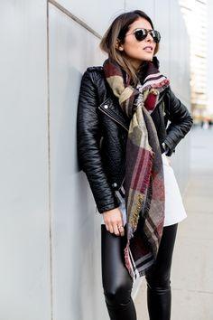 Moto Jacket, Blanket Scarf, Faux Leather Leggins, Pam Hetlinger | The Girl From Panama