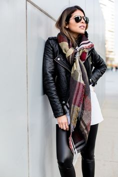 Moto Jacket, Blanket Scarf, Faux Leather Leggins, Pam Hetlinger | The Girl From Panama