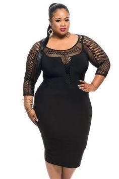 Sexy Black Mesh Plus Size Dress