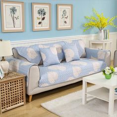Dustproof Twill Sofa Cover  Price: 26.99 & FREE Shipping  #twillfashion Cheap Sofas, Blue Leaves, Sofa Covers, Leaf Prints, Home Textile, Living Room Decor, Home And Garden, Couch, Free Shipping