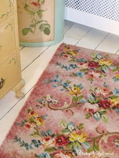 1940's rug with roses and colourful florals