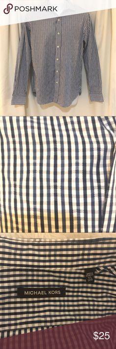 Michale Kors button down shirt Good condition Michale Kors button down shirt neck size 15 1/2. Blue and white plaid pattern. (C) Michael Kors Shirts Casual Button Down Shirts