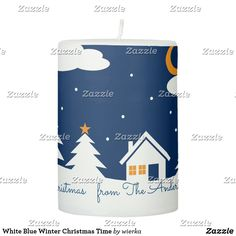 Shop White Blue Winter Christmas Time Pillar Candle created by wierka. Winter Christmas, Christmas Holidays, White Shop, Winter Scenes, Pillar Candles, Nice, Christmas Vacation, Taper Candles