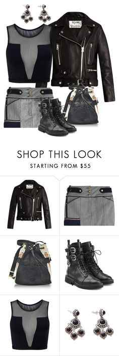 """Little Bitta Biker Chick"" by naviaux ❤ liked on Polyvore featuring Acne Studios, Anthony Vaccarello, Kenzo, Giuseppe Zanotti, Varley and NOVICA"