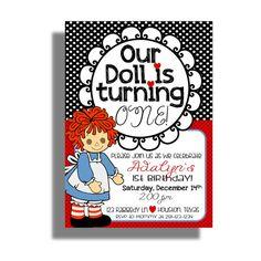 Raggedy Ann Birthday Invitation, Digital Custom Invitation on Etsy, $14.50
