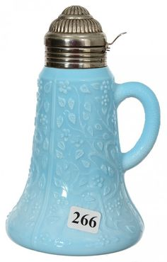 "7"" BLUE OPAQUE ART GLASS SYRUP PITCHER"