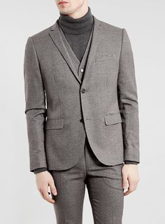 BURGUNDY AND GREY PUPPYTOOTH SKINNY SUIT JACKET