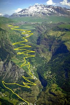 The famed 21 switchbacks of Alp d'Huex