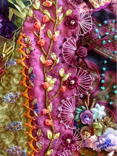 Embroidery Designs By Hand Inspiration Beautiful Needlework 23 Super Ideas Silk Ribbon Embroidery, Hand Embroidery Designs, Embroidery Art, Embroidery Stitches, Embroidery Patterns, Crazy Quilt Stitches, Crazy Quilt Blocks, Crazy Quilting, Quilt Patterns Free