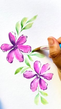 Watercolor Art Lessons, Art Watercolor, Watercolor Painting Techniques, Simple Flower Painting, Flower Art, Art Flowers, How To Paint Flowers, Painted Flowers, Watercolor Flowers Tutorial