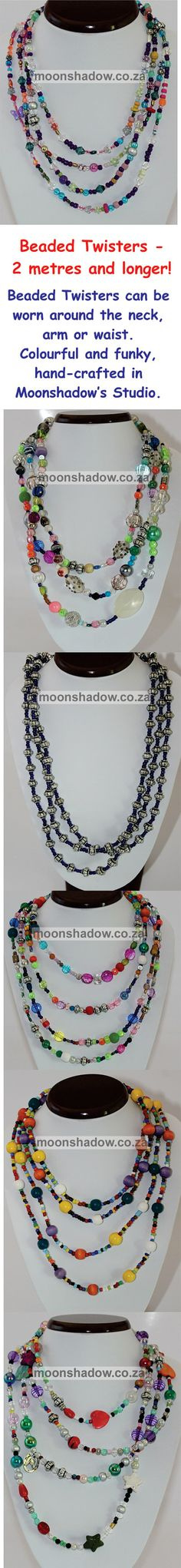 NEW STOCK! http://moonshadow.co.za/online_shop/necklaces/beaded-twisters.html  Beaded Twisters, 2 metres and longer! Priced starting at R90 (Approx $8.71 / €6.35), international shipping available.  These funky pieces can be worn around the neck, arm or waist. Versatile and colourful! Hand-crafted in Moonshadow's studio (#Swellendam, #SouthAfrica), these are one-of-a-kind pieces. (Gift Vouchers available.)