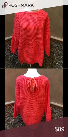 Ted Baker Sweater Neon orange waffle knit sweater with ribbon tie in back. The color is fantastic Excellent Condition. Sz 4/L Ted Baker London Sweaters Crew & Scoop Necks