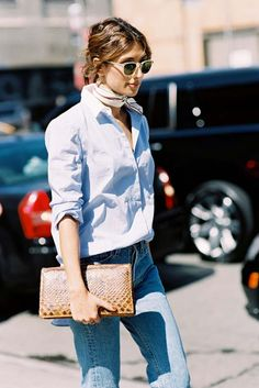 Throw on a neck-scarf and some neutral sunnies to radiate the ultimate cool-factor.