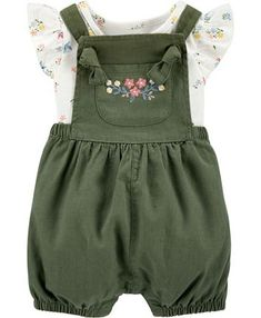 Carter's Baby Girl 2-Piece Floral Bodysuit & Shortall Set & Reviews - Sets & Outfits - Kids - Macy's Carters Baby Clothes, Trendy Baby Clothes, Carters Baby Girl, Cute Baby Girl Clothes, Baby Girl Clothing, Cute Baby Stuff, Vintage Baby Clothes, Baby Clothes Shops, Kids Clothing