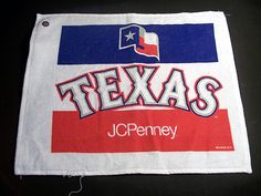 "$4.99 MLB Texas Rangers Mini Towel 17.5"" x 14.5"" with JCPenney Logo."
