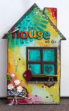 2013 CHA Release - Maya Road - Ronda Palazzari In the House Mini Album for houses AND books Mini Albums, Mini Scrapbook Albums, Ronda, Wood Crafts, Paper Crafts, Collaborative Art, Art Journal Inspiration, Mixed Media Art, Mix Media