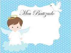 Convite de batizado: Modelos para imprimir - Artesanato Passo a Passo! Baptism Favors, Baptism Invitations, Christening Frames, Angel Theme, Panda Birthday, Baby Clip Art, Ideas Para Fiestas, Library Design, Baby Shark
