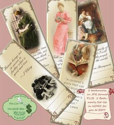 Just been included in an ETSY treasury: https://www.etsy.com/treasury/MzM3MzE5NTh8MjcyNTQ4NDE1MA/happy-new-year-to-all VINTAGE BOOKMARKS EDITABLE 417 Printable Collage Sheet by ArtToArt, $2.50