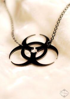These Stainless Steel Biohazard sign jewelry armor apocaliptyc Charm Lot 12 pcs