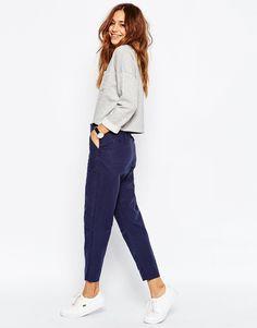 Image 1 ofASOS Linen Washed Drape Peg Trousers