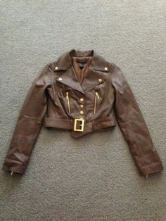 Arden B Brown Lamb Leather Motorcycle Jacket Gold Sz. S