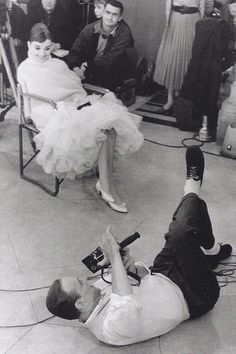 rainorsundance:  Audrey Hepburn and Fred Astaire on the set of Funny Face (1957)