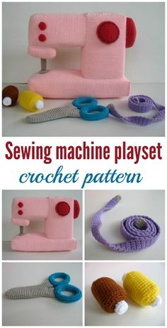 Crochet pattern for an amazing sewing machine playset. The rest of the patterns here will blow your mind!