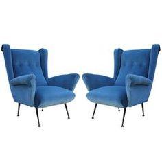 Fabulous Pair of Italian Wingback Lounge Chairs in Blue Velvet