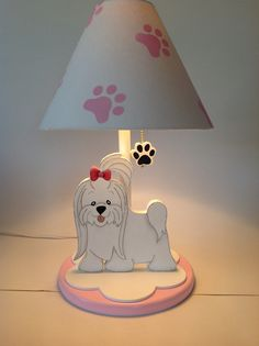 #decoration #kids #tablelamps cute dog tabla lamp with a girly dog! Handmade by Under Ten CR