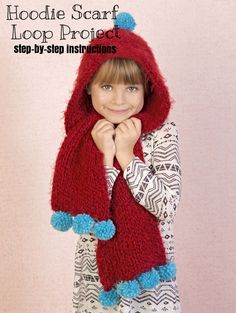 Loom knitting is so muich fun especially when the end product is an adorable toddler hoodie scarf! | Loom Knit Crafts