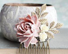 Cheveux de mariée peigne Rose Rose fleurs pour cheveux accessoires Collage Floral les demoiselles d'honneur cadeau branche feuilles pays romantique mariage Chic