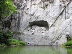 Lion of Lucerne, Bertel Thorvaldsen, stone Relief, 1821