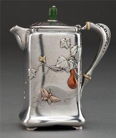 Silver Tea Pot ~ I'm thinking Edwardian to Art Deco era... Love the motif and the green (bakelite?) knob!