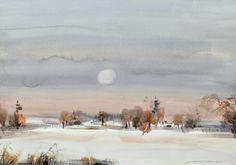 Nandor Mikola(Finnish 1911-2006)Winter Moon  watercolour  via