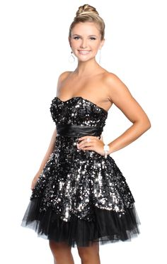 strapless two tone sequin short prom dress with scalloped hemline