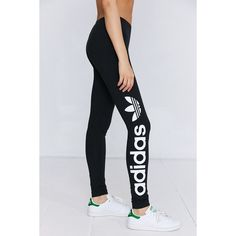 adidas Originals Liner Logo Legging ($35) ❤ liked on Polyvore featuring pants, leggings, high-waist trousers, stretch leggings, adidas leggings, high-waisted leggings and high-rise leggings