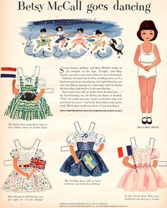 Betsy McCall Goes Dancing Dutch British Swedish French Dresses 1952 Paper Doll | eBay