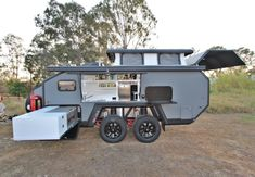 The next generation of off-road campers for the modern adventurer. -You can find Offroad and more on our website.The next generation of off-road campers for the modern adve. Expedition Trailer, Overland Trailer, Motorcycle Trailer, Motorcycle Camping, Off Road Camper Trailer, Camper Trailers, Travel Trailers, Motorhome, Truck Bed Camping